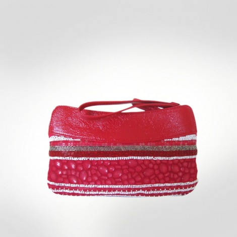 Ferre Red Leather Beaded Clutch