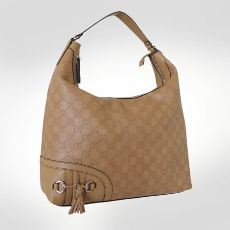 "Gucci Beige ""GG"" Etched Leather Handbag"