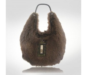 Brunello Cucinelli Dark Brown Fur Handbag