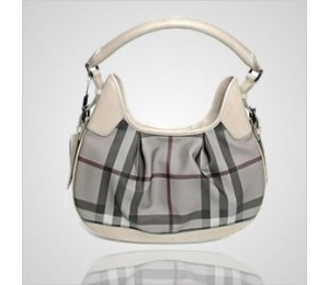 Burberry Beige Check PVC/Calf Leather Handbag