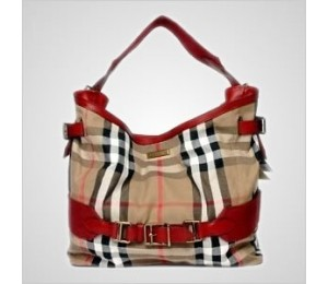 Burberry Vintage House Check Canvas Hobo Bag