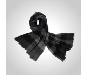 Burberry Black & Dark Charcoal Check Cashmere Scarf