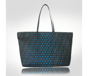 Fendi Blue Perforated Canvas Tote
