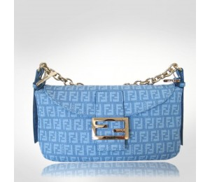 Fendi Light Blue Canvas Zia Forever Evening Bag
