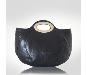 Ferre Milano Black Leather Bowler Top Handles