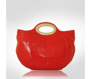 Ferre Milano Red Leather Bowler Top Handles