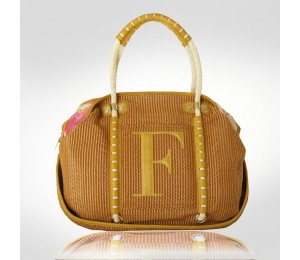 Ferre Milano Light Brown Rafia Large Tote