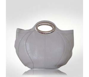 Ferre Milano Off White Leather Bowler Top Handles