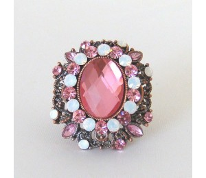 Joana Cocea Pink Crystal Center Cocktail Ring
