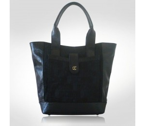 Just Cavalli Black Jacquard Canvas Large Tote