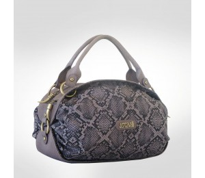 Just Cavalli Mocha Serpent Canvas Medium Tote