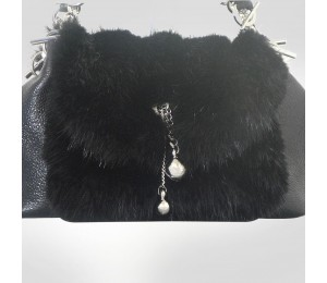 PH +39 Italia Black Fur Leather Shoulder bag