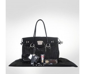PH +39 Italia Black Patent Croc Leather Handbag