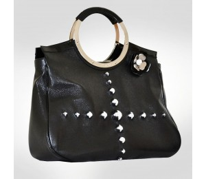 PH +39 Italia Black Pebbled Leather Handbag