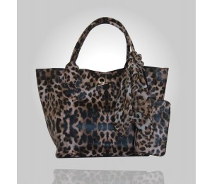 Dina Cheetah Print Tote Bag with Pouch