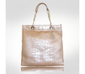 Versace Coconut Pearl  Croc Leather Tote Bag