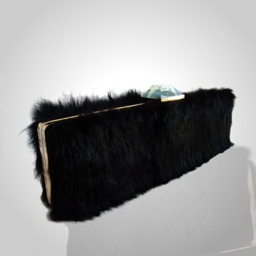 Black Fur Evening Bag