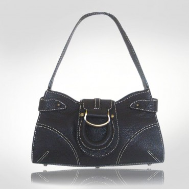 Etienne Aigner Ebony Leather Flap Handbag