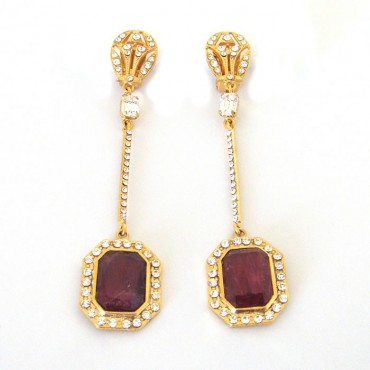 Fanny Bijoux Goldtone Royalty Ruby Earrings