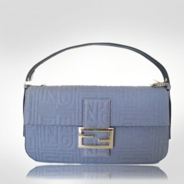 Fendi Blue Canvas Baquette Tracol Evening Bag
