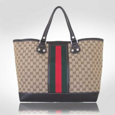 Gucci Beige Web Medium Tote Bag