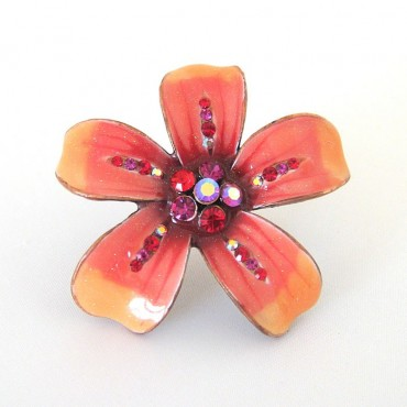Joana Cocea Red Orange Flower Cocktail Ring