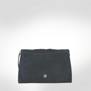 Just Cavalli Black Suede Large Evening Bag