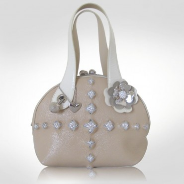 PH +39 Italia Beige Pebbled Leather Bowler Bag