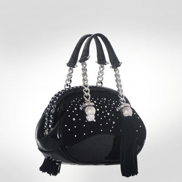 PH +39 Italia Black Leather & Suede Evening bag