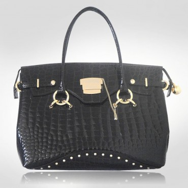 PH +39 Italia Brown Patent Croc Leather Handbag