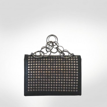 Roberto Cavalli Black Leather Chain Evening bag