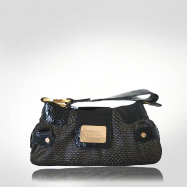 Ferre Black Canvas Wristlet