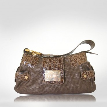 Ferre Brown Canvas Wristlet