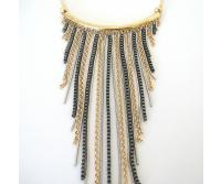 Fanny Bijoux Triple-tone Chains Necklace and Earrings